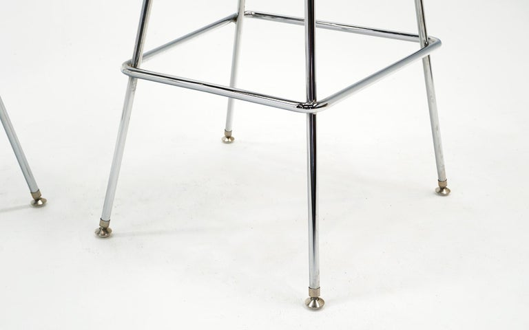 Pair of Wire Barstools by Charles and Ray Eames, Chrome with Black Leather Pads For Sale 1
