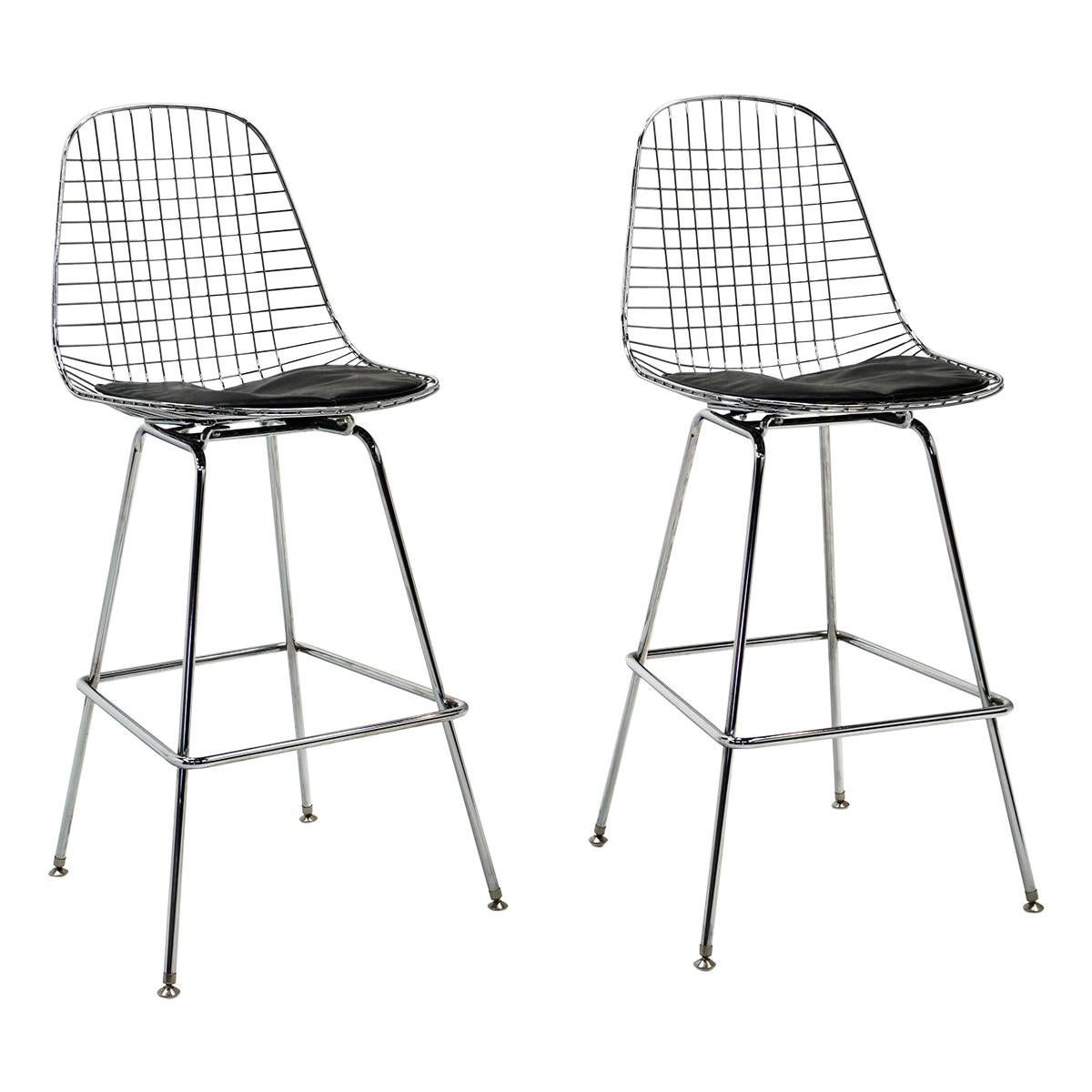 Pair of Wire Barstools by Charles and Ray Eames, Chrome with Black Leather Pads