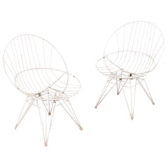 Pair of Wire Chairs by Cees Braakman for Pastoe, 1950s