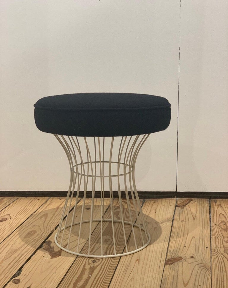 French wire stools in white enameled wrought iron.