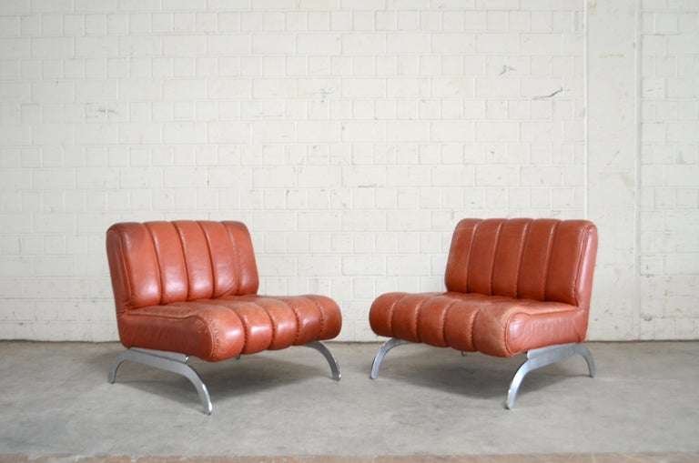 Mid-Century Modern Pair of Wittmann Lounge Chair Leather Chairs Model Independence For Sale