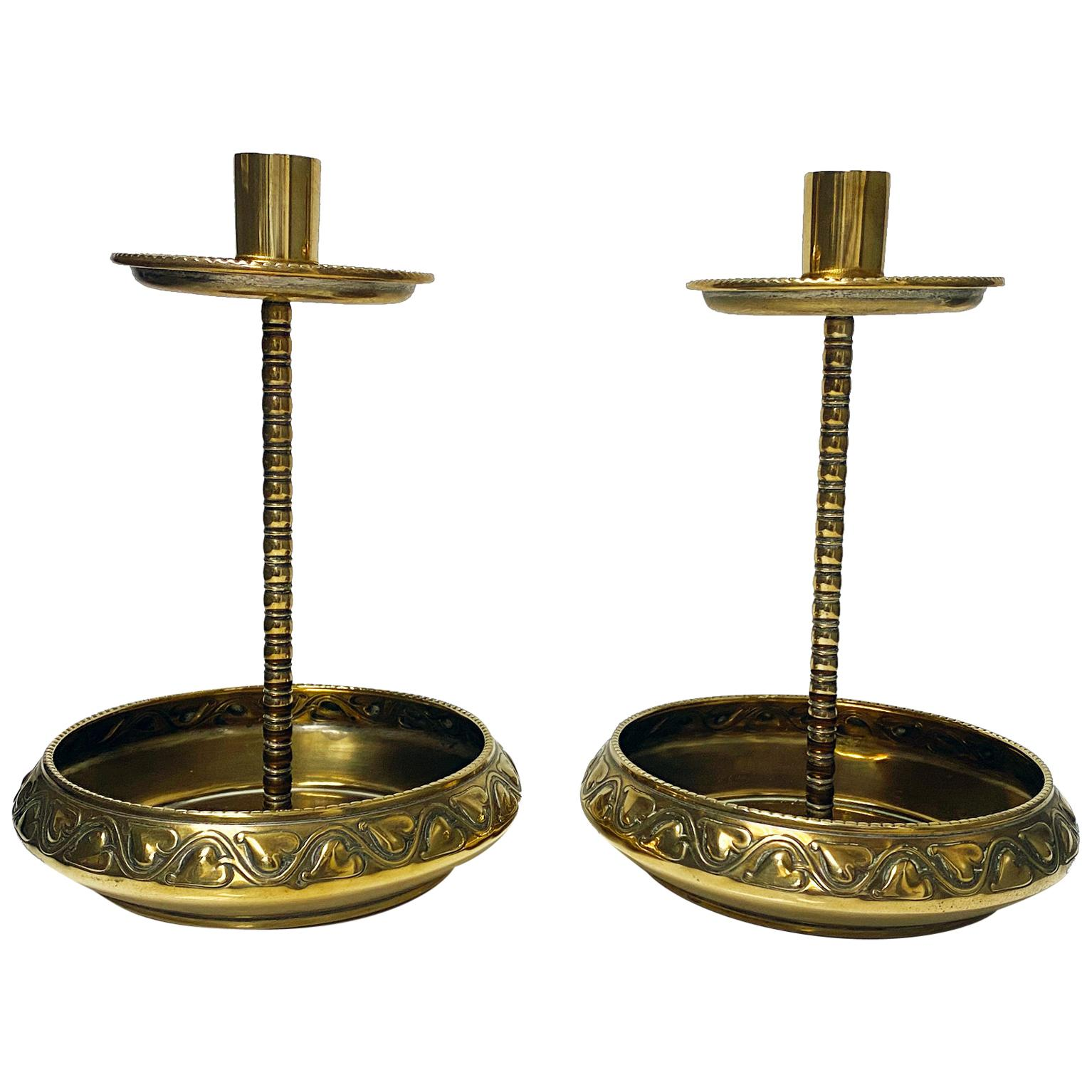 Pair of WMF Brass Arts Crafts Candlesticks, C.1900