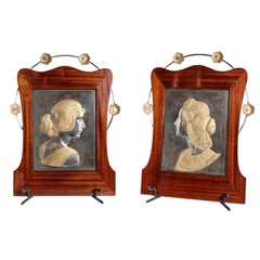 Pair of W.M.F. Plaques Signed Albert Mayer, Art Nouveau Period, Germany