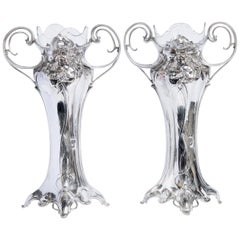 Pair of W.M.F. Silver Plate Flower Vases with Glass, Jugendstil Period