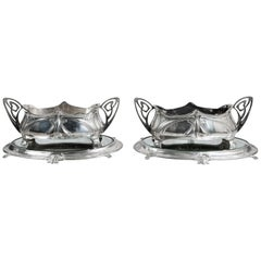 Pair of W.M.F. Silver Plate Jardiniere with Mirror Plateau, Jugendstil Style