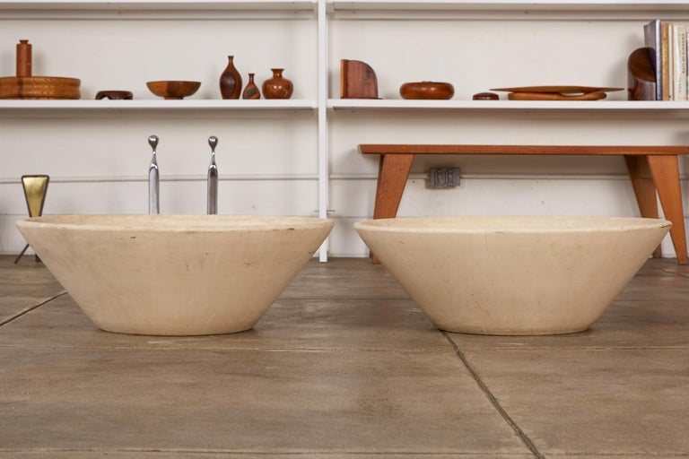 Pair of Wok Planters by Lagardo Tackett for Architectural Pottery In Good Condition For Sale In Los Angeles, CA