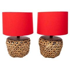Pair of Women Rattan Table Lamps