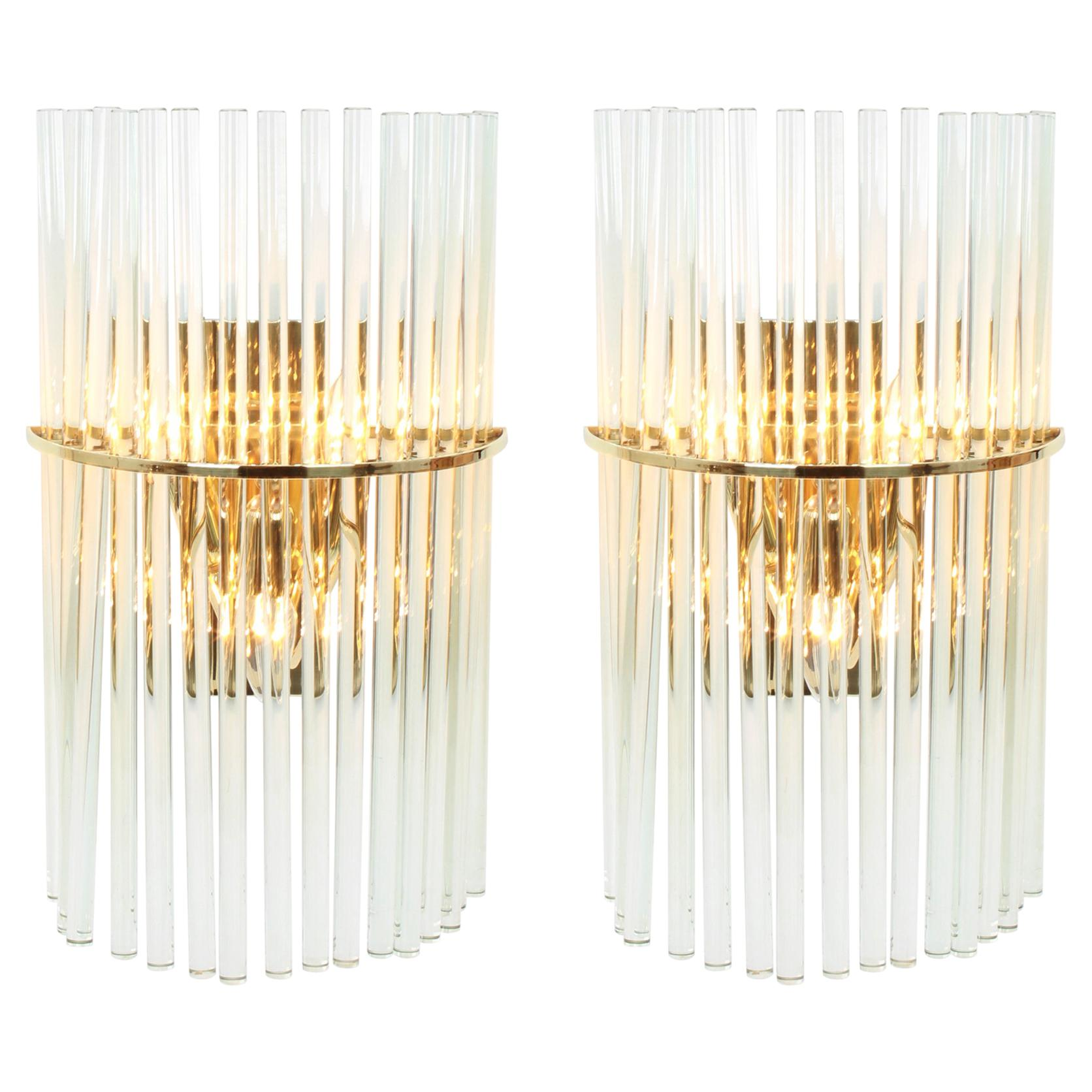 Pair of Wonderful Crystal Rods Sconces by Christoph Palme, Germany, 1970s