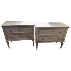 Pair 19th Century Swedish Gustavian Painted Wood Chests on Tapered Legs