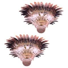 Pair of Wonderful Pink Murano Palmette Chandeliers