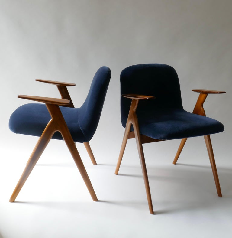 Pair of wood and blue velvet armchairs or lounge chairs. Italy, 1960s