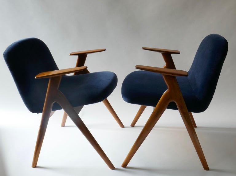 Walnut Pair of  Wood and Blue Velvet Armchairs, Italy, 1960s For Sale