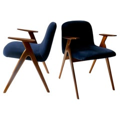 Pair of  Wood and Blue Velvet Armchairs, Italy, 1960s