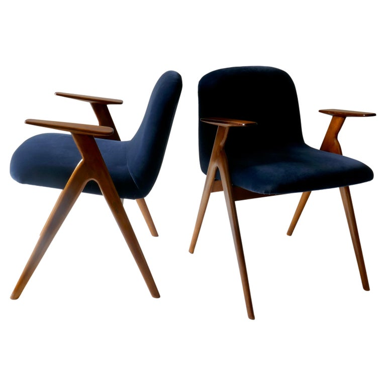 Pair of  Wood and Blue Velvet Armchairs, Italy, 1960s For Sale