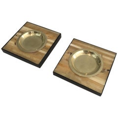 Pair of Wood and Brass Ashtrays or Vide-Poches, Italy, circa 1970