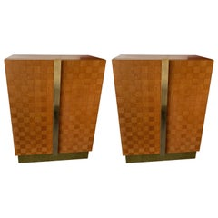Pair of Wood and Brass Cabinets by Giorgetti. Italy, 1980s
