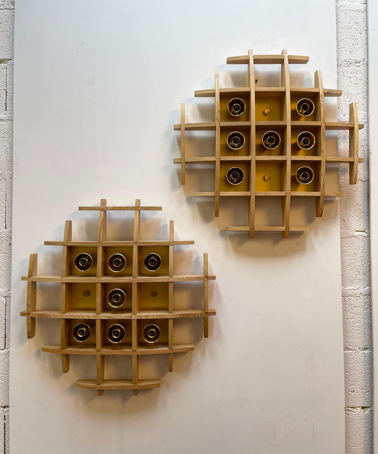 Pair of Wood and Brass Sconces Ceiling by Esperia, Italy, 1970s For Sale 1