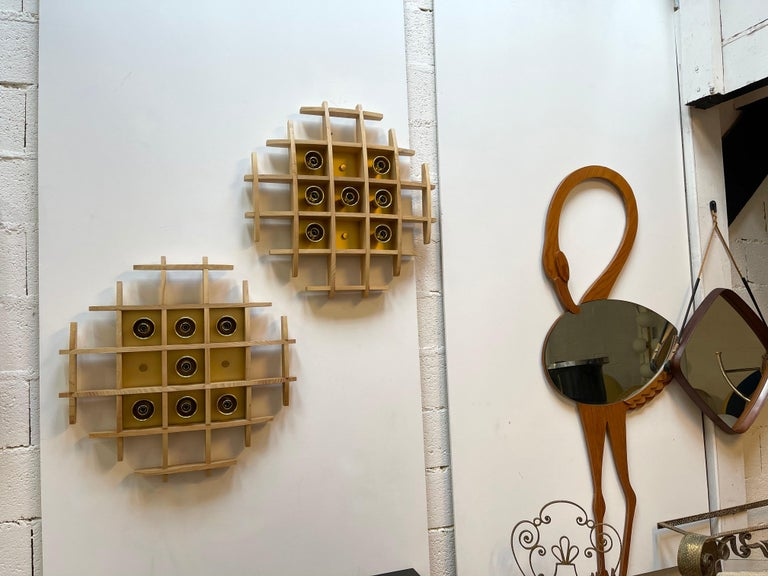 Pair of Wood and Brass Sconces Ceiling by Esperia, Italy, 1970s For Sale 2