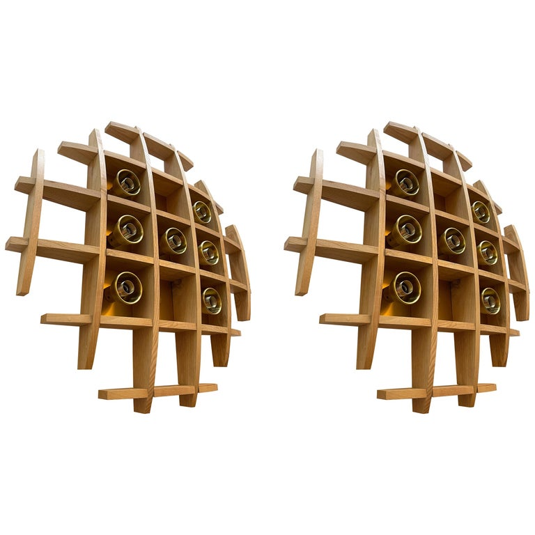 Pair of Wood and Brass Sconces Ceiling by Esperia, Italy, 1970s For Sale