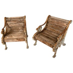 Pair of Wood and Cast Iron Garden Seats