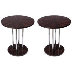 Pair of Wood and Chrome Metal Side Tables, Art Deco Period, France, circa 1940