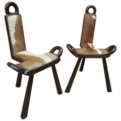 Pair of Wood and Cow Skin Chairs, France, circa 1960