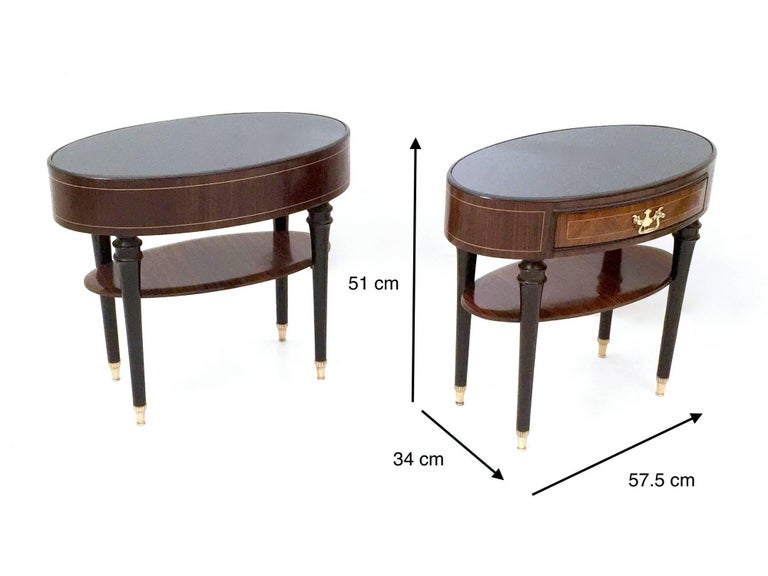 Pair of Wood and Ebonized Wood Nightstands in the Style of Buffa, Italy, 1950s For Sale 4