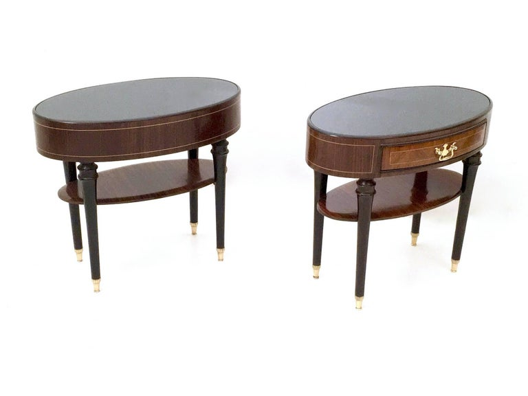 Italian Pair of Wood and Ebonized Wood Nightstands in the Style of Buffa, Italy, 1950s For Sale