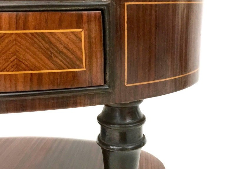 Pair of Wood and Ebonized Wood Nightstands in the Style of Buffa, Italy, 1950s For Sale 1