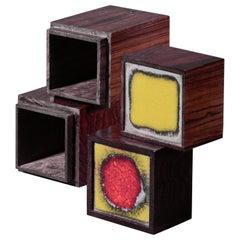 Pair of Wood and Enamel Alfred Klitgaard Desk Top Storage Boxes