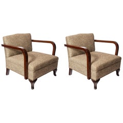 Pair of Wood and Fabric Armchairs, Art Deco Period, France, circa 1940