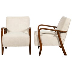 Pair of Wood and Fabric Armchairs by Nordiska, Argentina, circa 1950