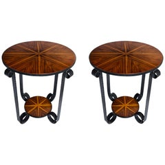 Pair of Wood and Iron Side Tables, Art Deco Period, France, circa 1930