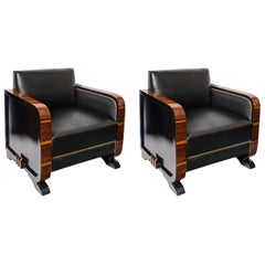 Pair of Wood and Leather Armchairs, Art Deco Period, France, circa 1940