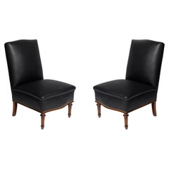 Pair of Wood and Leather Slipper Chairs by Comte, Argentina, circa 1940