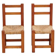 Pair of Wood and Rattan Children Chairs, circa 1960