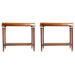 Pair of Wood and Rattan Side Tables, France, circa 1950