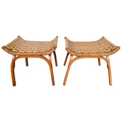 Pair of Wood and Rattan Taurus Stools, Italy, 1960s