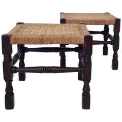 Pair of Wood and Rope Stools