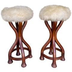 Pair of Wood and Sheepskin Bar Stools. Italy, 1970s