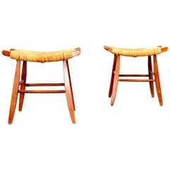Pair of Wood and Straw Stool