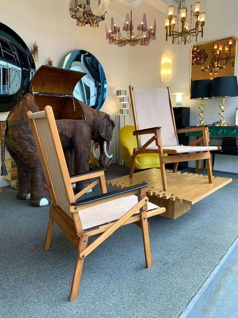 Pair of Wood and Suede Folding Armchairs, Italy, 1950s For Sale 6