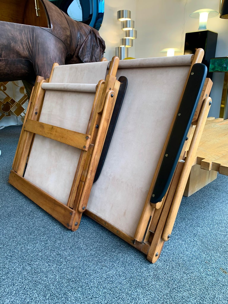 Mid-Century Modern Pair of Wood and Suede Folding Armchairs, Italy, 1950s For Sale