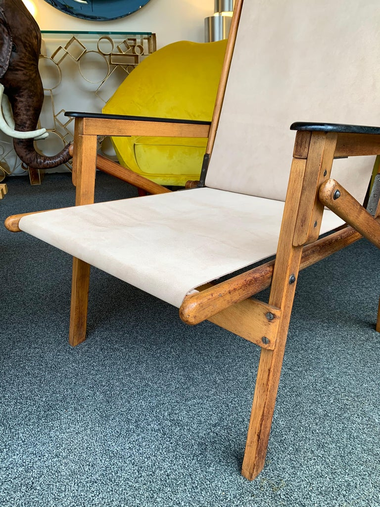 Italian Pair of Wood and Suede Folding Armchairs, Italy, 1950s For Sale