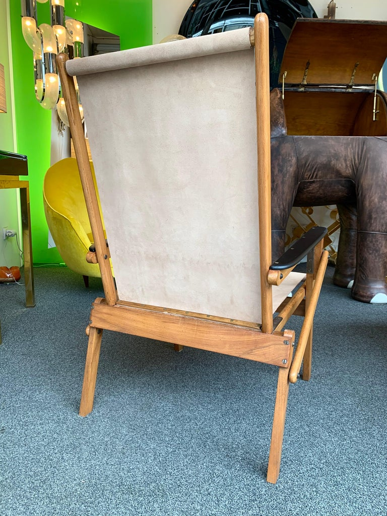 Pair of Wood and Suede Folding Armchairs, Italy, 1950s In Good Condition For Sale In SAINT-OUEN, FR