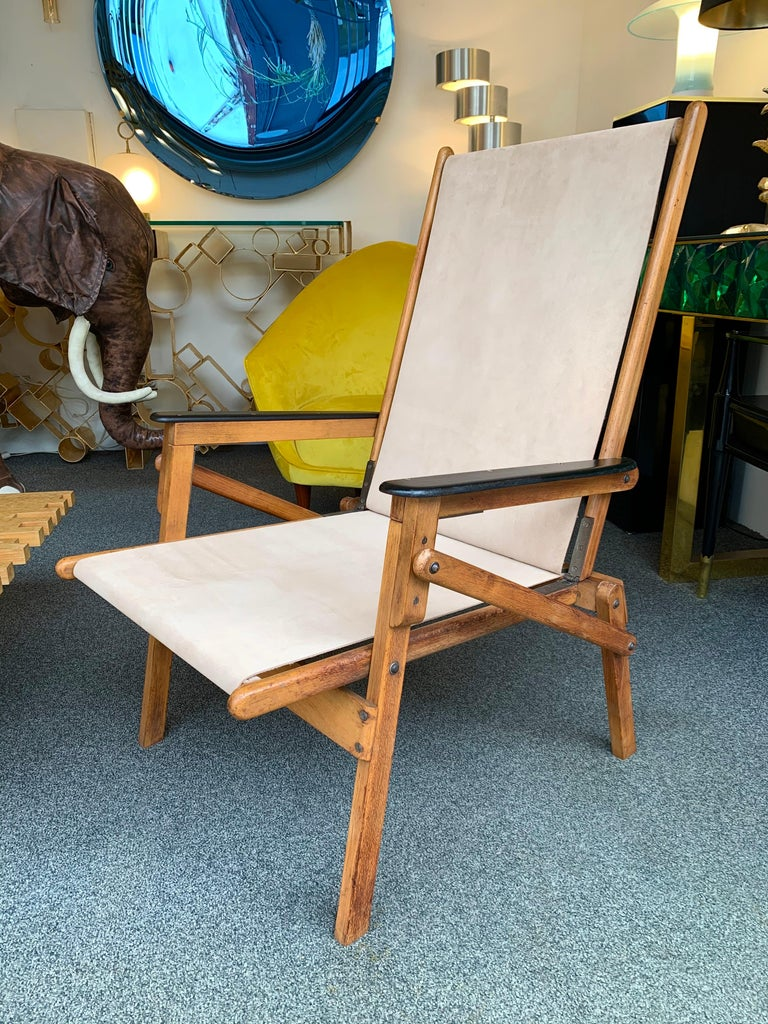 Mid-20th Century Pair of Wood and Suede Folding Armchairs, Italy, 1950s For Sale