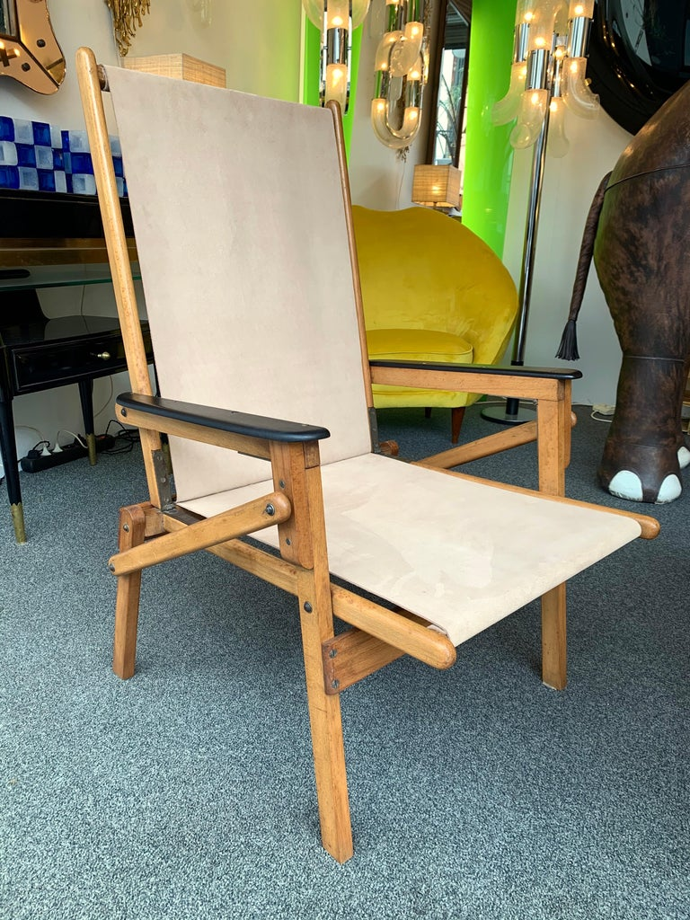 Pair of Wood and Suede Folding Armchairs, Italy, 1950s For Sale 1