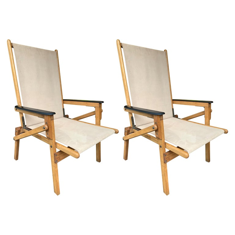 Pair of Wood and Suede Folding Armchairs, Italy, 1950s For Sale