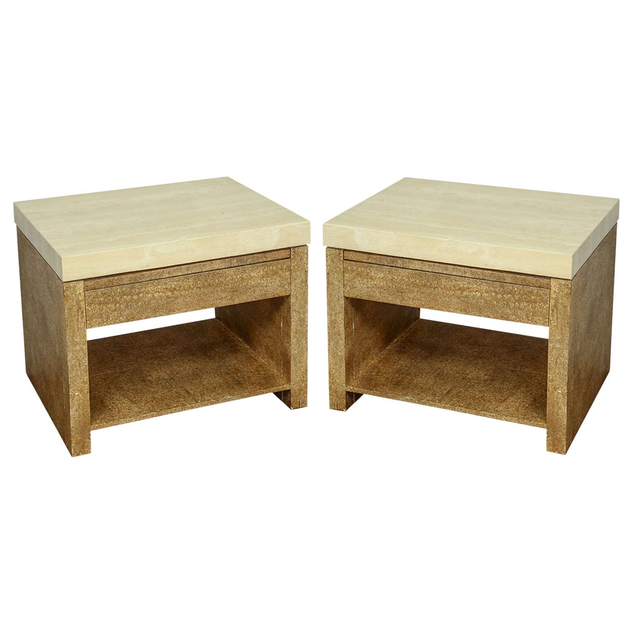 Pair of Wood and Travertine End Tables