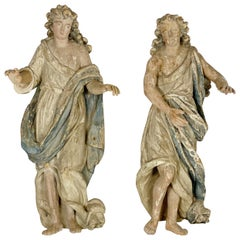 Pair of Wood Angels Sculptures, France, 18th Century